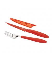 Ant.nůž steak.a vidlička PRESTO TONE, červená