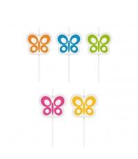 Dort.svíčky DEL.KIDS,na šp.,5ks, motýlci