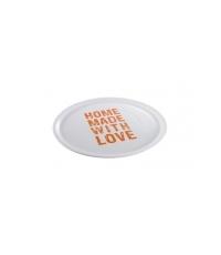 Talíř na pizzu HOME MADE WITH LOVE pr. 33 cm, oranžová