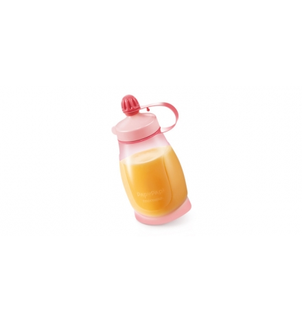 Pružná láhev PAPU PAPI 200 ml, se lžičkou, růžová