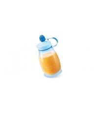 Pružná láhev PAPU PAPI 200 ml, se lžičkou, modrá