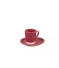Šálek na espresso LIVING, s podšálkem, červená