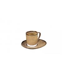 Šálek na espresso LIVING, s podšálkem, hnědá