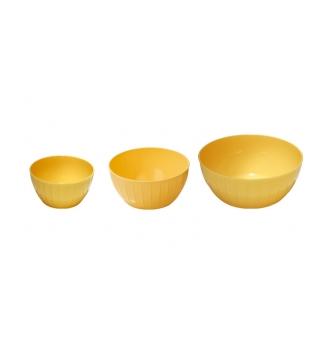 Mísy plastové DELÍCIA, sada 3 ks, žlutá