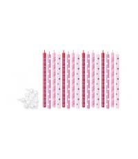 Dortové svíčky DELÍCIA KIDS 12 cm, 16 ks , růžová